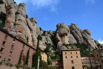 The jagged limestone peaks of Montserrat rising above the sacred abbey...